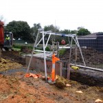 Access gantry in use over trench.