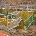 Access Platforms and Ladders attached to LITE guard Trench Shoring Shields
