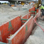 super shields at use trench shoring on worksite