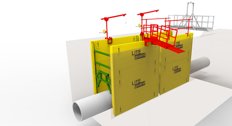 Render of LITEguard Trench Shoring products and accessories